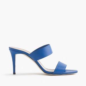 J. Crew Lena Heeled Leather Slides Cobalt Blue